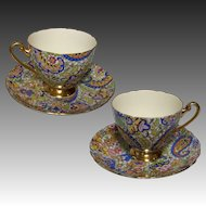 Pair Scarce Shelley Blue Paisley Cups & Saucers 14038 c.1960