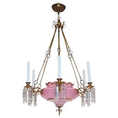 Antique Gilt Bronze and Cased Pink Opaline Glass Bowl Continental Chandelier