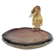 Archimede Seguso Murano Aventurine Amethyst Glass Duck Bowl or Dish #1