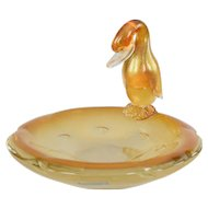 Archimede Seguso Murano Aventurine Gold Glass Duck Bowl or Dish #2