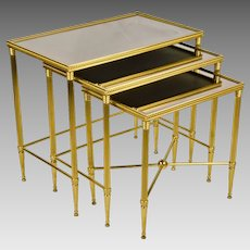 Set 3 Vintage Italian Brass Nesting - Stacking Tables