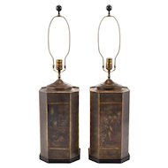 Pair of Chinese Chinoiserie Tea Tin Lamps by Chapman 1974