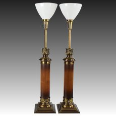 Pair Tall Vintage Stiffel Wood Column Lamps