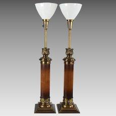 Pair Tall Vintage Stiffel Wood Column Lamps