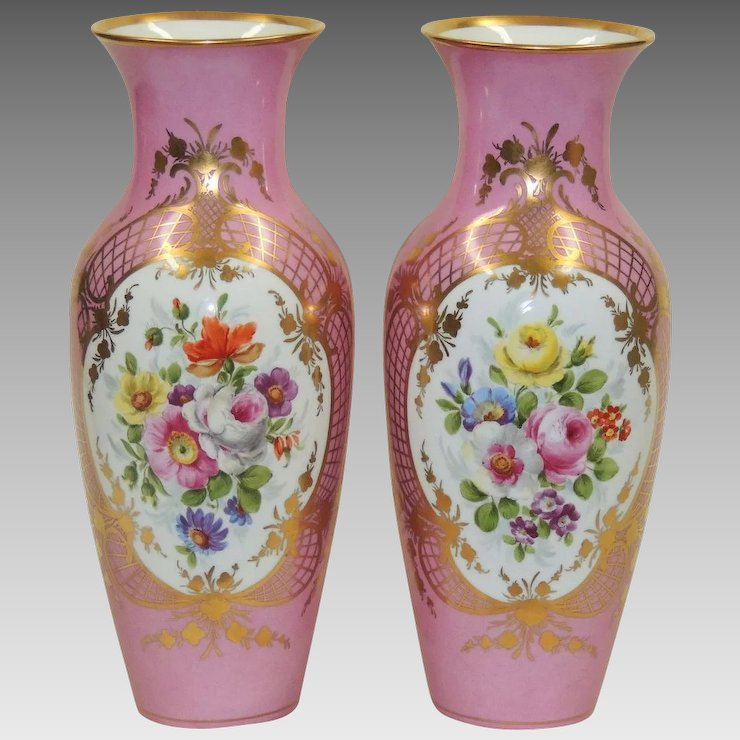 Pair Antique Pink Kpm Vases Gilded With Hand Painted Florals The