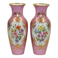 Pair Antique Pink KPM Vases - Gilded with Hand Painted Florals