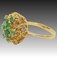 Vintage 18K Gold Filigree Emerald Cluster Ring