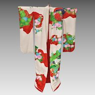 1930s / 1940s Silk Uchikake Kimono Cranes - Showa Period