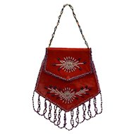 Vintage Native American Iroquois Velour Beaded Purse - Montreal 1940s