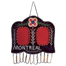 Vintage Native American Iroquois Velour Beaded Double Picture Frame - Montreal 1945