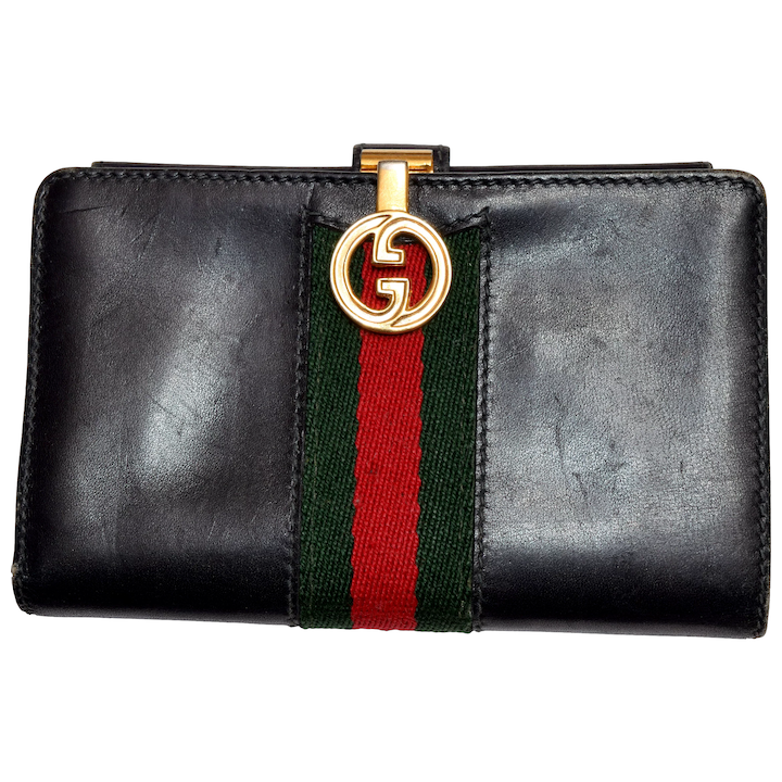 0fe1004fed2a90 Vintage Gucci Italian Leather Wallet - Dark Navy Blue Reg / Green : The Old  Light Warehouse | Ruby Lane