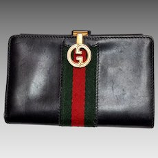 Vintage Gucci Italian Leather Wallet - Dark Navy Blue Reg / Green Stripe - Authentic