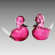 Pair Vintage Petite Formia Murano Glass Sommerso Ducks Pink / Black