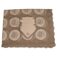 Vintage Madeira Linen Medallion Crocheted Tablecloth & 12 Napkins - 108 x 70 inches