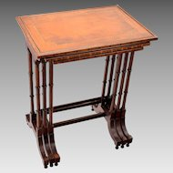 Antique Inlaid Banded Nesting Tables - Set Three