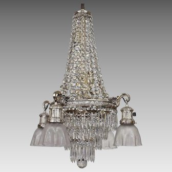 Vintage Crystal Tiered Chandelier 10 Lights with Etched Shades - Silver Plated