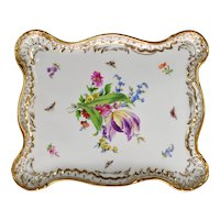 Large Antique Meissen Porcelain Tray - Butterflies, Tulip and Flowers - Gilded