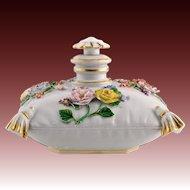 Antique Meissen Porcelain Cushion / Pillow Perfume Scent Bottle - Flowers, Gilded Tassels - Scarce