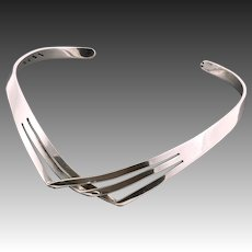 950 Sterling Silver Modernist Choker Necklace Signed Alicia Mexico