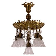 Antique 6 Light Brass Chandelier Fixture Roses, Etched Shades, Crystals - Victorian