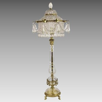 Vintage Cut Crystal and Cast Brass Lamp - Beaded Shade