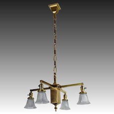 Antique Wakefield Brass Mission 4 Light Fixture