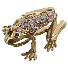 Vintage 14K Gold and Diamond Frog Pendant / Slide
