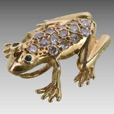 Vintage 14K Gold and Diamond Frog Pendant / Slide