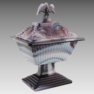 Vintage Imperial Purple Slag Glass Eagle Covered Dish 461
