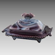 Vintage Imperial Purple Slag Glass Covered Box Dish 6992