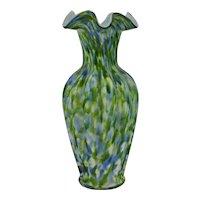 Fenton Vasa Murrhina Green Aventurine Ruffled Vase