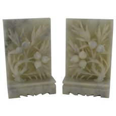 Vintage Pair Hand Carved Soapstone Bookends