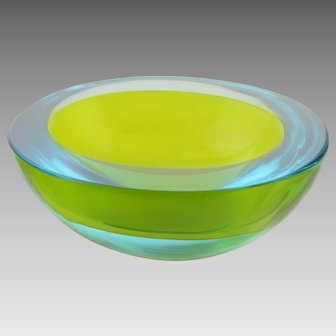 Vintage Cenedese Murano Glass Sommerso Geode Bowl Green and Blue