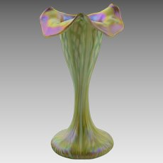 Quezal Art Glass Ribbed Floriform Vase - Unusual