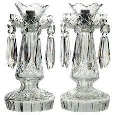 Pair Waterford Cut Crystal Candelabra Candlesticks Type C1