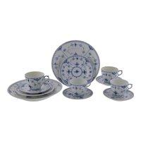 Royal Copenhagen Blue Fluted Half Lace Border Cups Saucers Plates
