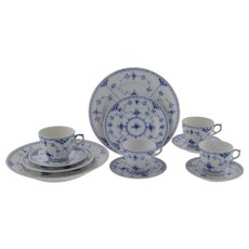 Royal Copengagen Blue Fluted Half Lace Border Cups Saucers Plates