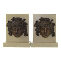 Pair Dionysos Mask British Museum Bookends - 1959