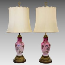 Pair Peachblow Vase Lamps Brass Mounts