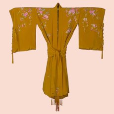 Vintage Japanese Embroidered Gold Silk Kimono with Belt Sash BOHO