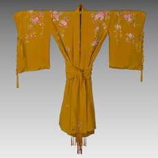 Vintage Japanese Embroidered Gold Silk Kimono with Belt Sash BOHO