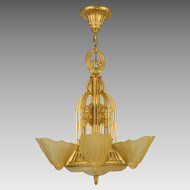 Vintage Lightolier Stylux Slip Shade Chandelier Fixture - 5 Light
