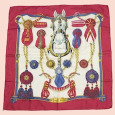 Vintage Hermès Silk Scarf Frontaux et Cocardes Burgundy - First Issue 1968