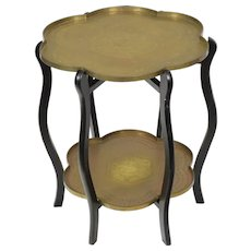 Vintage Two Tier Brass Tray Table - Hong Kong - Folding Stand