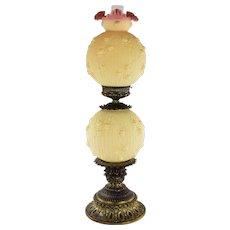 Largest Fenton Burmese Cabbage Rose GWTW Lamp 1971-1973