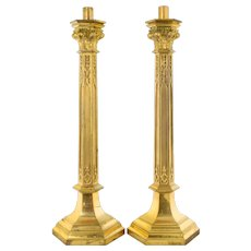 "Pair 28"" Tall Antique Brass Church Candlesticks"
