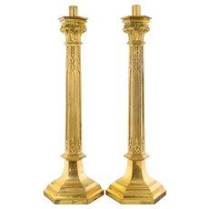 """Pair 28"""" Tall Antique Brass Church Candlesticks"""