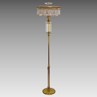 Vintage Brass and Crystal Floor Lamp / Chandelier