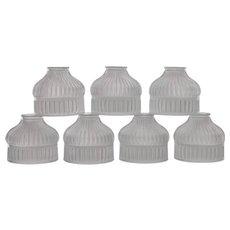 Set 7 Antique Holophane Glass Lamp / Fixture Shades