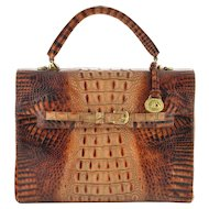 Vintage Brahmin Purse / Handbag - Melbourne Embossed Crocodile in Toasted Almond
